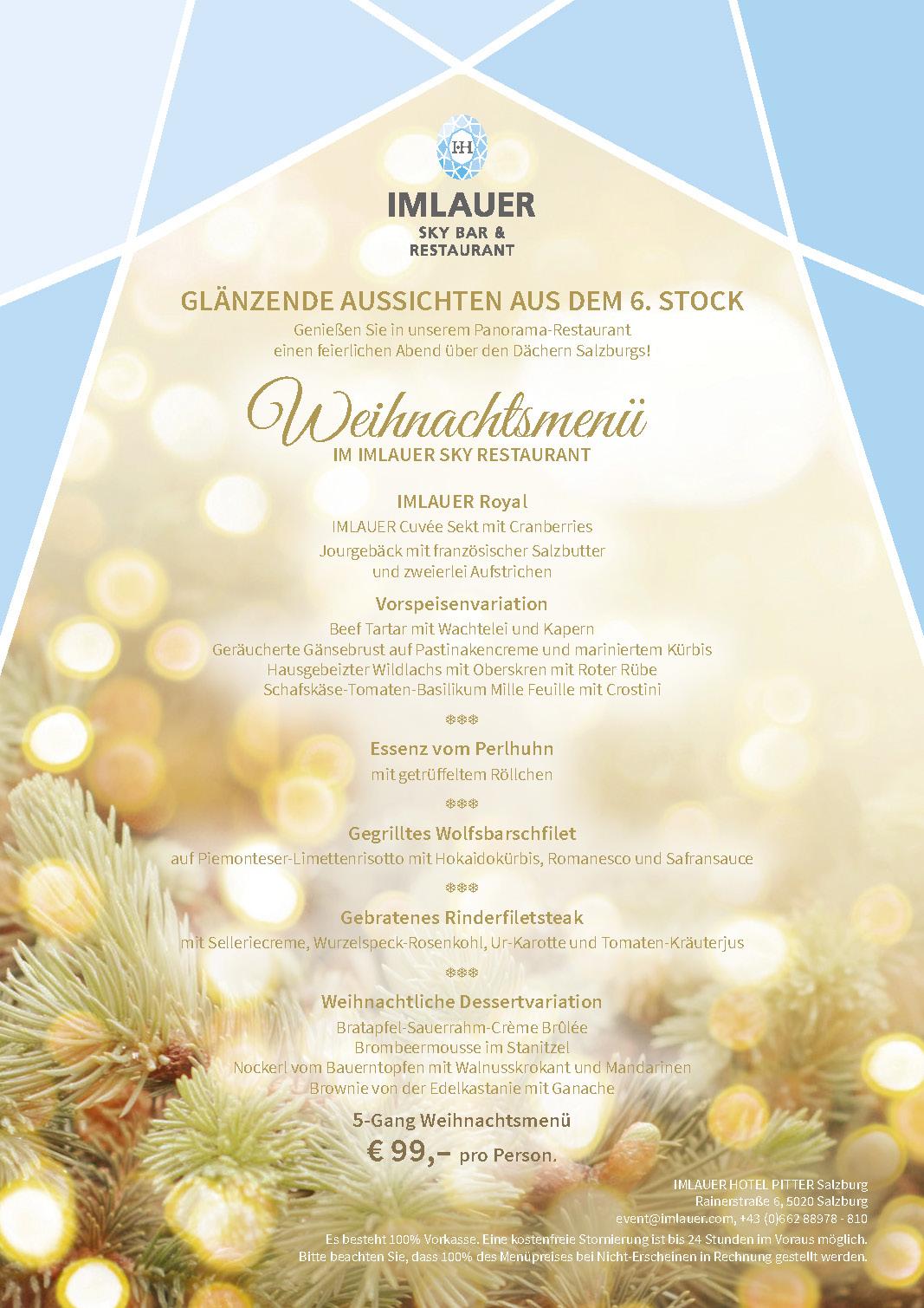 Weihnachtsmenu IMLAUER HOTEL PITTER Sky Salzburg